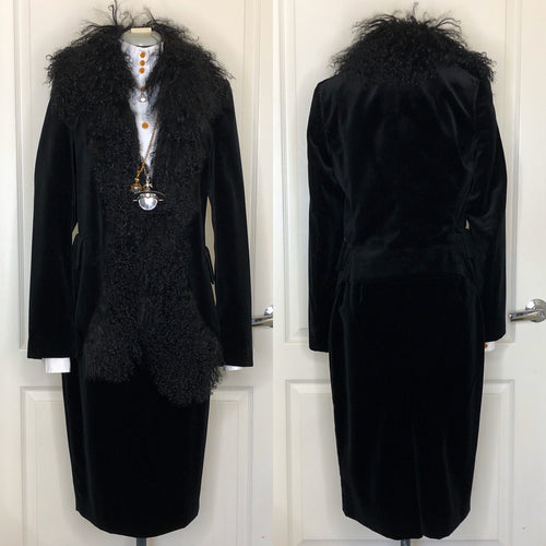Vivienne Westwood Black Velvet Jacket with Fur Trim