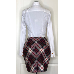 Vivienne Westwood AW 1996 Multi-Tartan Windy Bettina Jacket and Pencil Skirt Suit Set