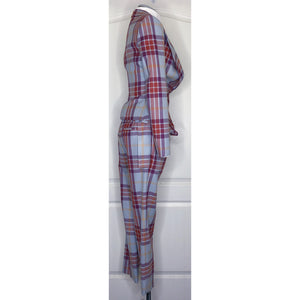 Vivienne Westwood Red Label 2010 Blue Tartan Wide Collar Jacket and Kung-Fu Trousers Suit