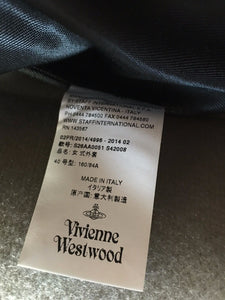 Vivienne Westwood Red Label Love Coat in Grey Wool with Aurbergine Velvet