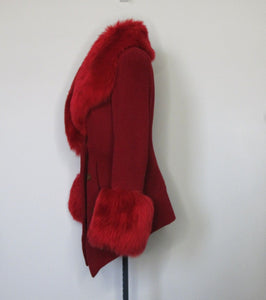 Vivienne Westwood Vintage 1990s Red Label Faux Fur Red Wool Coat