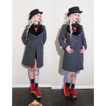 Load image into Gallery viewer, Vivienne Westwood Red Label Love Coat in Grey Wool with Aurbergine Velvet