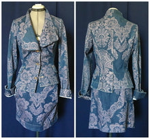 Load image into Gallery viewer, Vivienne Westwood Red Label SS 2010 Brocade Denim Alcoholic Jacket and Pockets Mini Skirt Suit Set