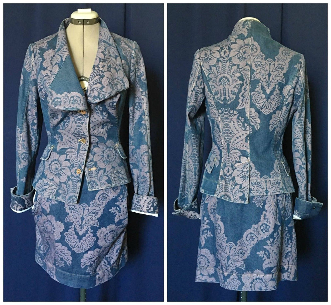 Vivienne Westwood Red Label SS 2010 Brocade Denim Alcoholic Jacket and Pockets Mini Skirt Suit Set