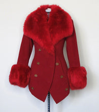 Load image into Gallery viewer, Vivienne Westwood Vintage 1990s Red Label Faux Fur Red Wool Coat