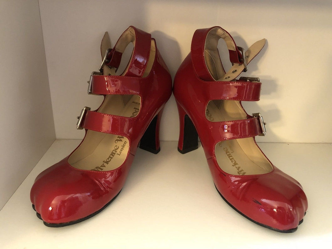 Vivienne Westwood Gold Label Animal Toe 3-Straps Red Patent Leather