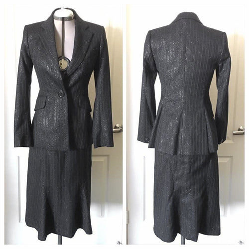 Vivienne Westwood Red Label 2000's Sparkly Pinstripe Black Skirt Suit