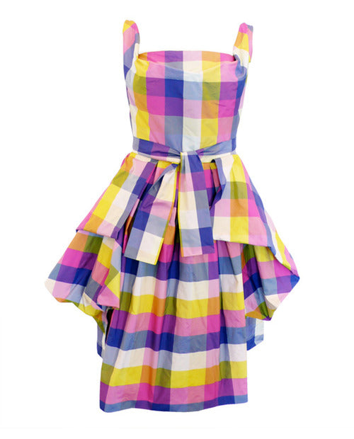 Vivienne Westwood Anglomania Bale Sunday Dress Yellow Pink Multi-Color Taffeta
