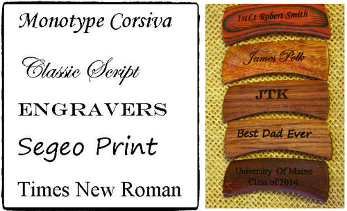 Available Engraving Fonts