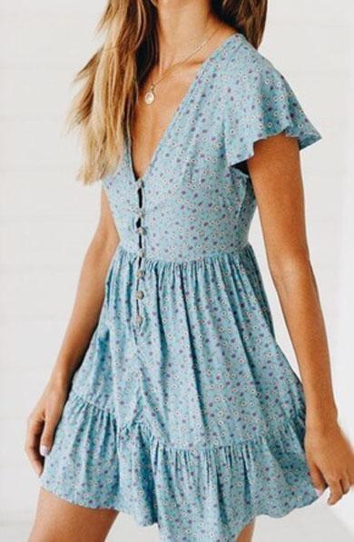 AISHA button boho dress