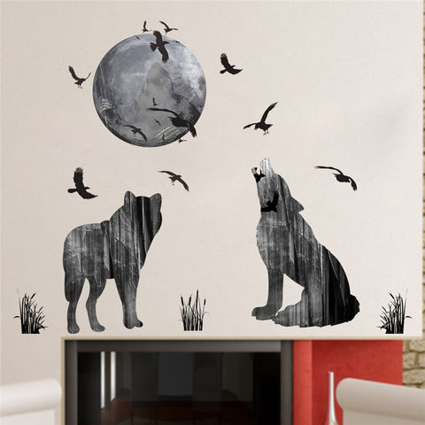 Forest Moon Wolf Wall Sticker PVC