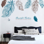 Large feather wall sticker