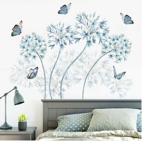 Blue Flowers Butterfly Wall Stickers