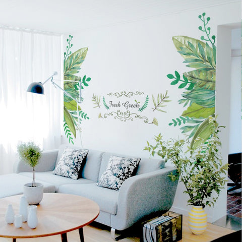 European Style Leaves Green Wall Sticker
