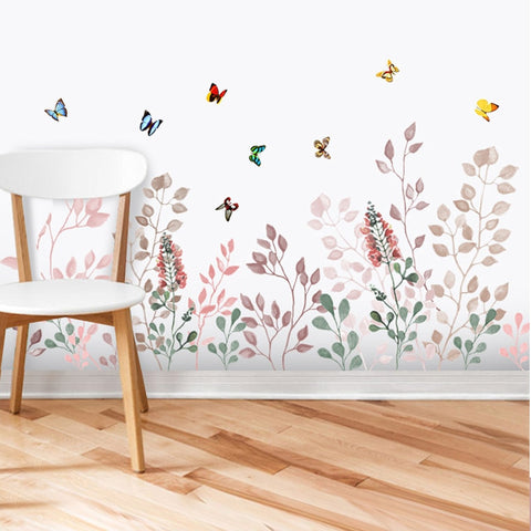 Colorful Plant Leaves Flowers Butterfly Wall Sticker
