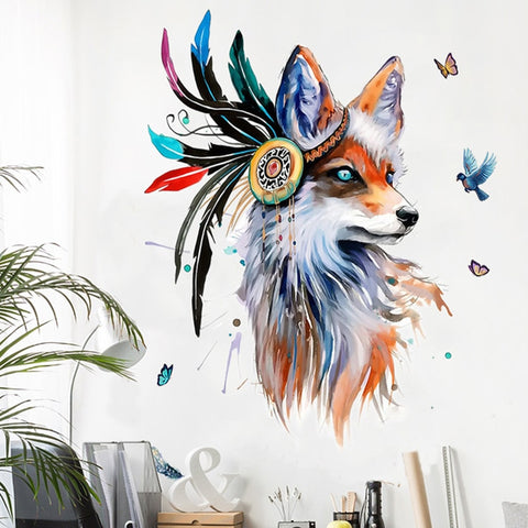 European Style Hand Painted Wolf Head Wall Stickers Colorful