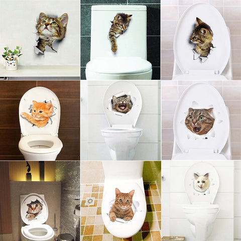 Hole View Vivid Cats Dog 3D Wall Sticker - Wall Stickers Inc