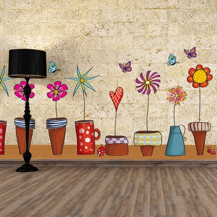 Pot Plant Flower Butterfly Nature Lovely PVC Wall Sticker