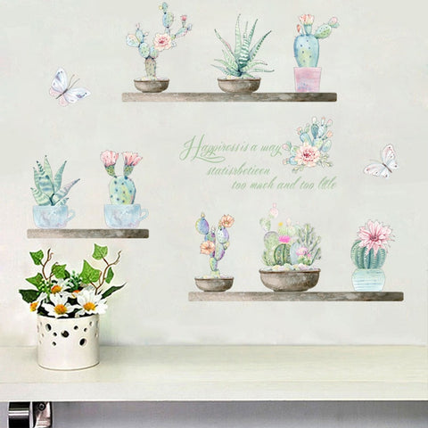 3D effect Pastoral fresh wall sticker plant cactus