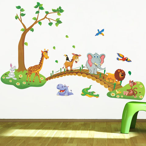 3D Cartoon Jungle wild animals tree bridge - Wall Stickers Inc