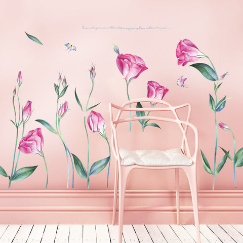 Large Fresh Flower Wall Stickers Romantic