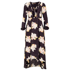Mila long dress - Black bouquet flower