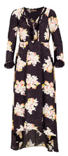 Load image into Gallery viewer, Mila long dress - Black bouquet flower