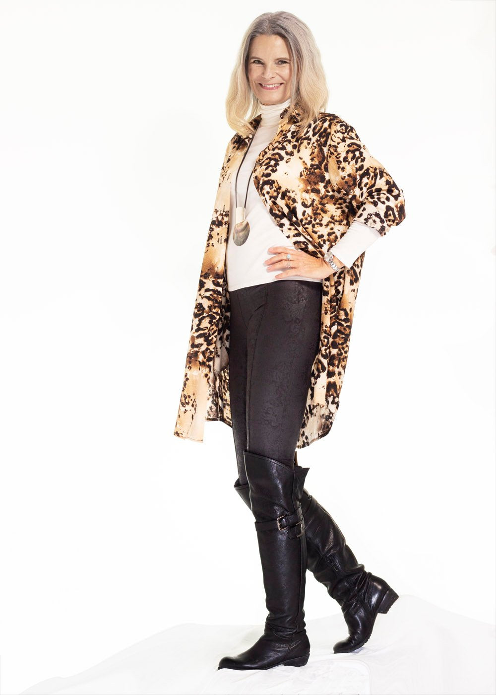 Leopard shirt dress
