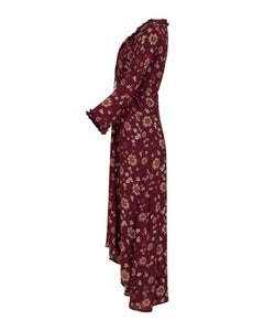 Mila long dress - Burnt red flower print