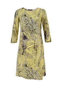 Gina dress, yellow spotted print
