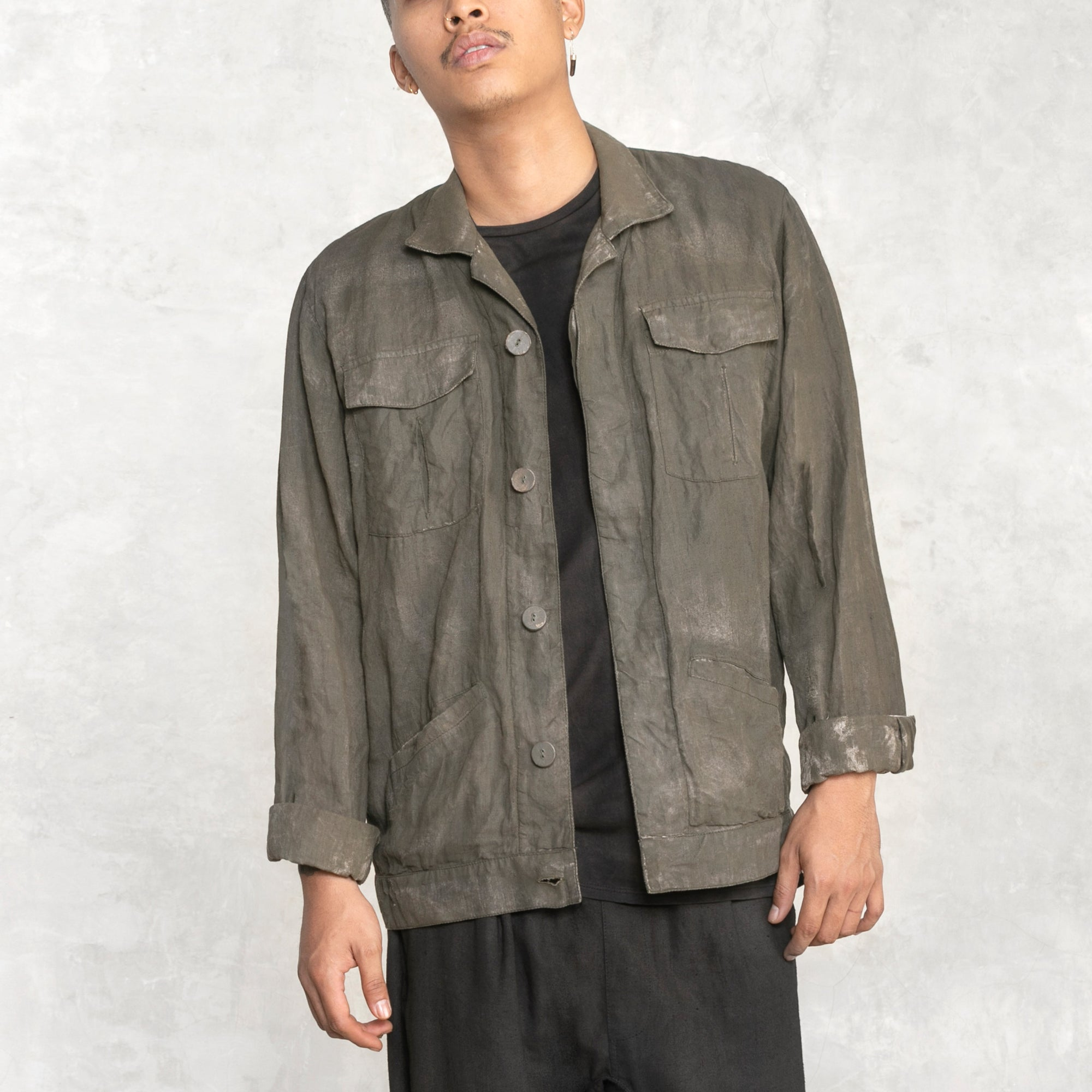 Brush Linen Workshirt - Charred Olive