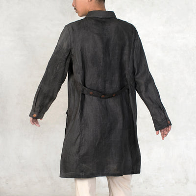 black linen duster jacket