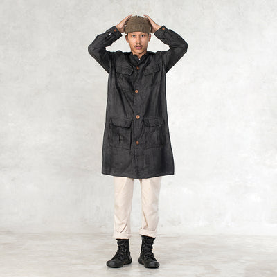 Challis Linen Duster - Black Walnut