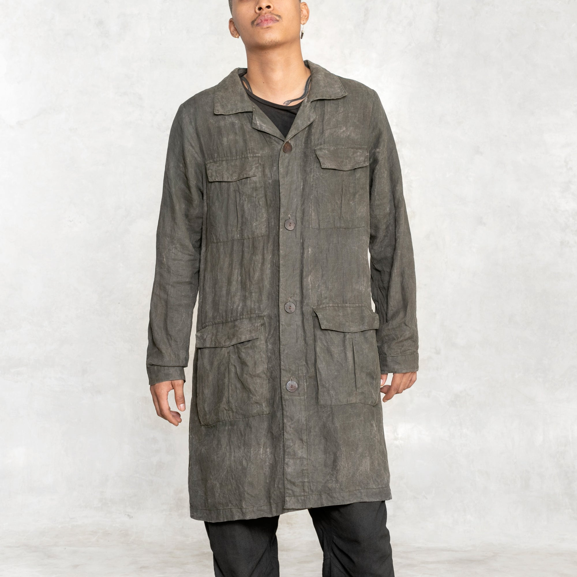 men's olive trenchcoat