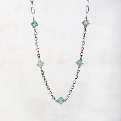 fluorite silver necklace