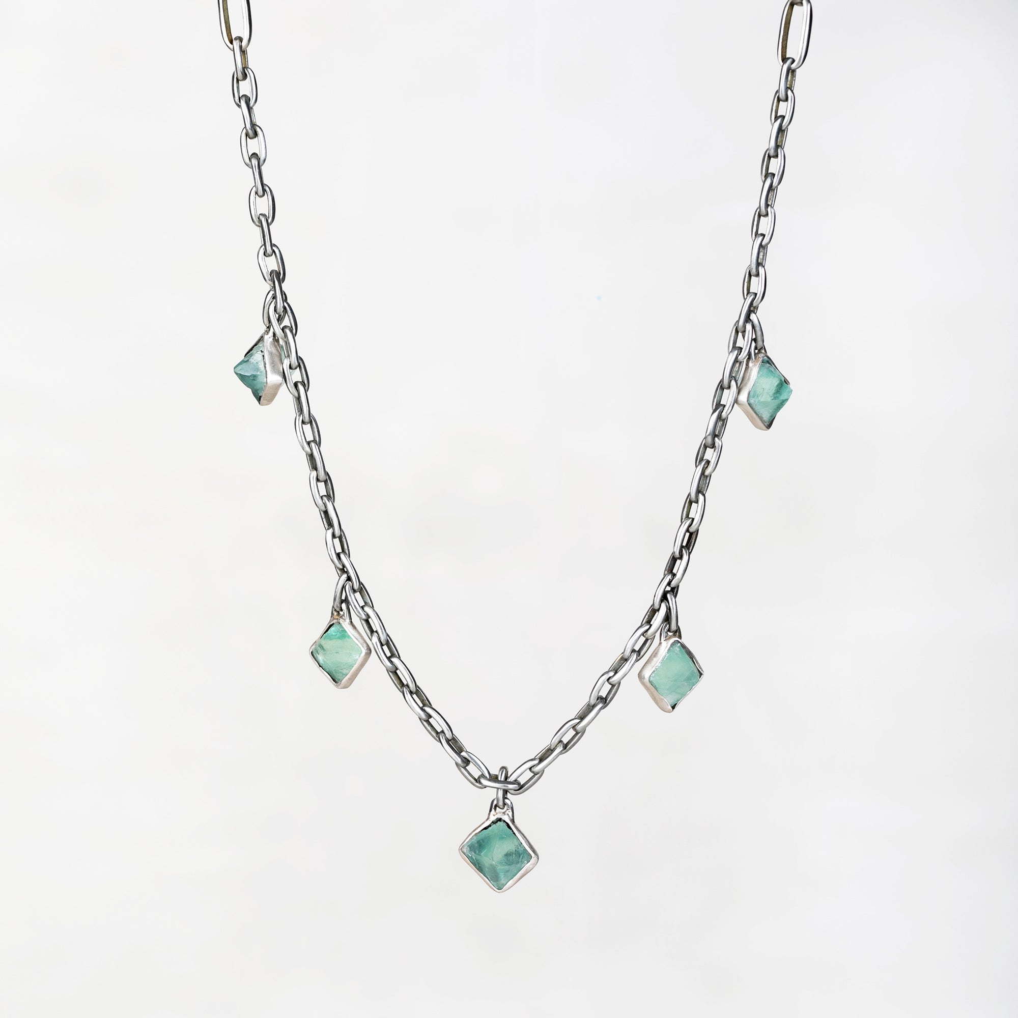 silver fluorite necklace