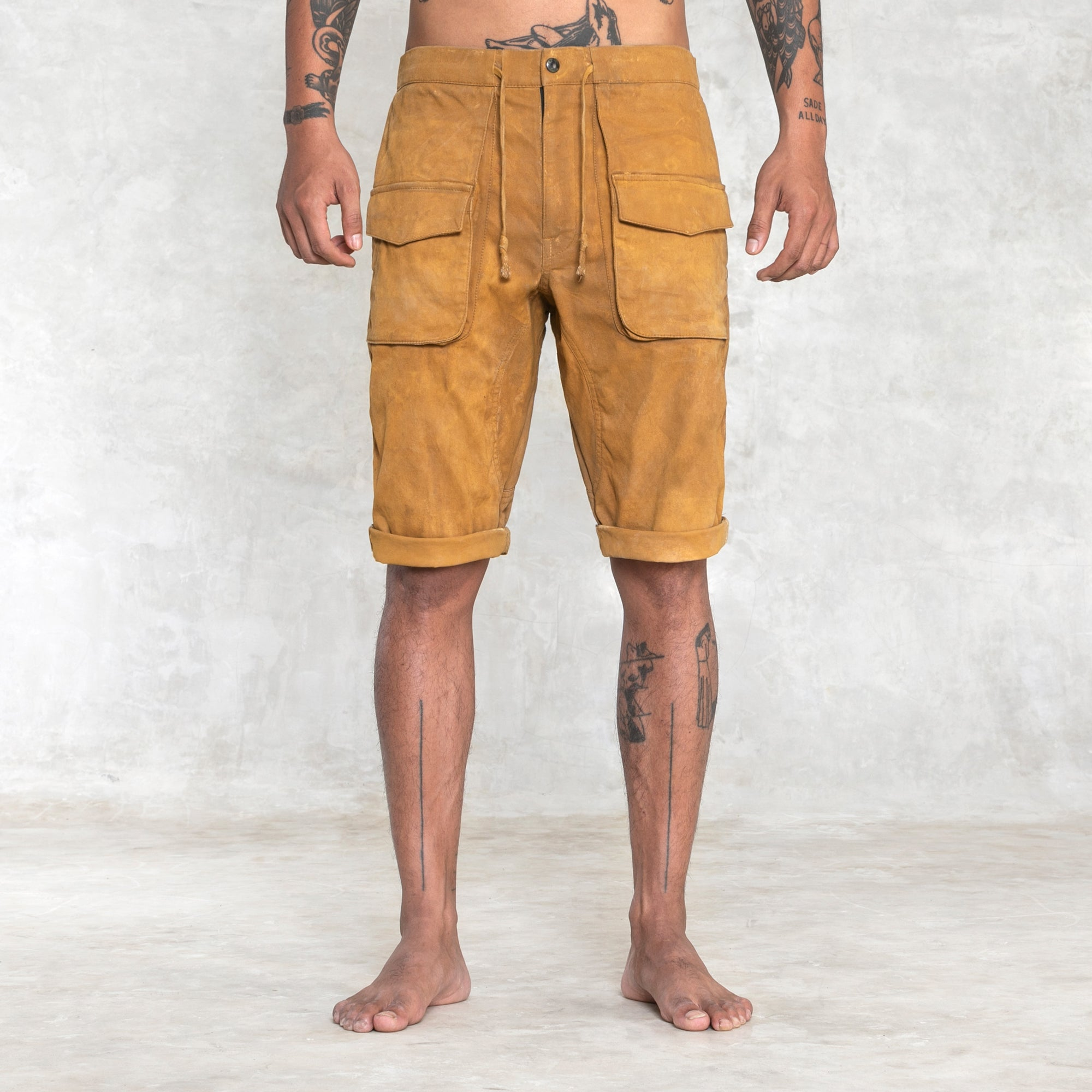 men's knee length yellow shorts