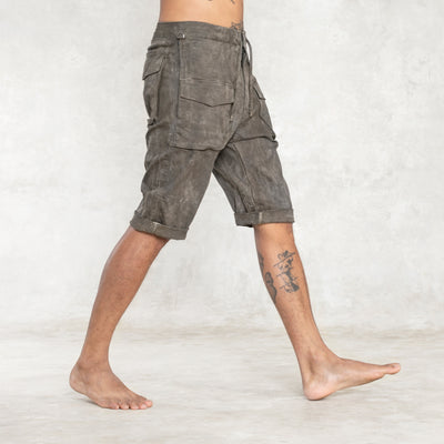 men's knee length olive shorts