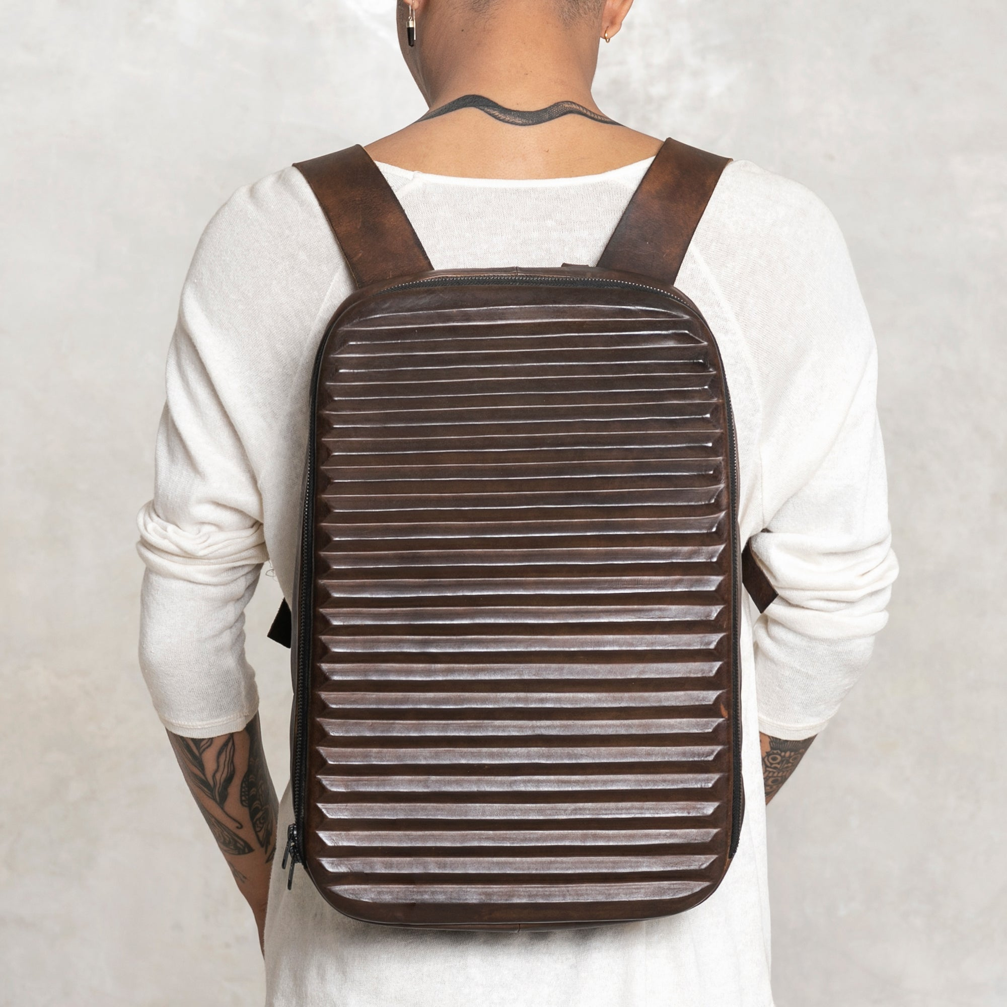 leather ridged backpack