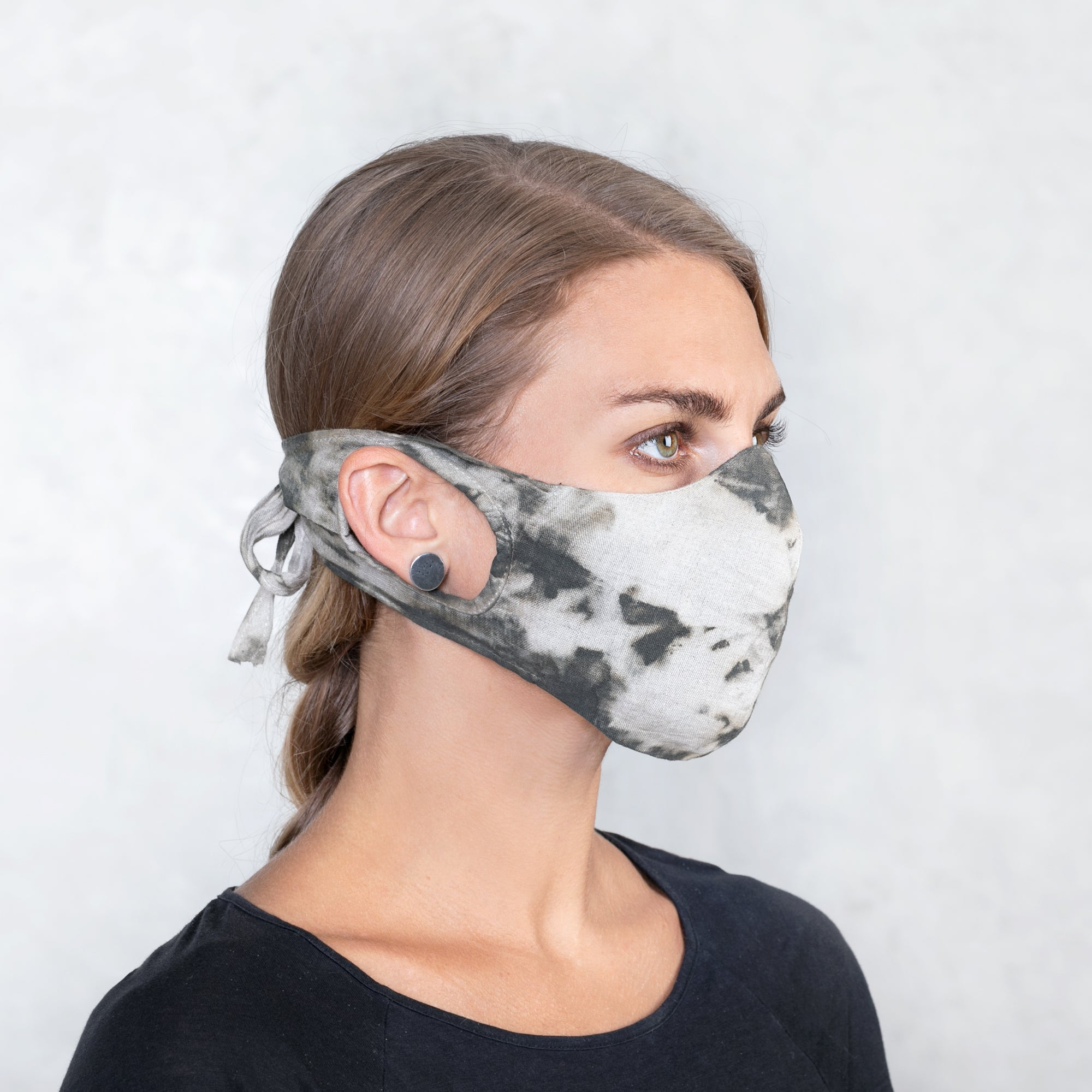 ZOOM Mask - Natural and Olive Tie-Dye