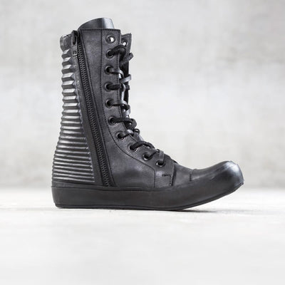 black leather high top