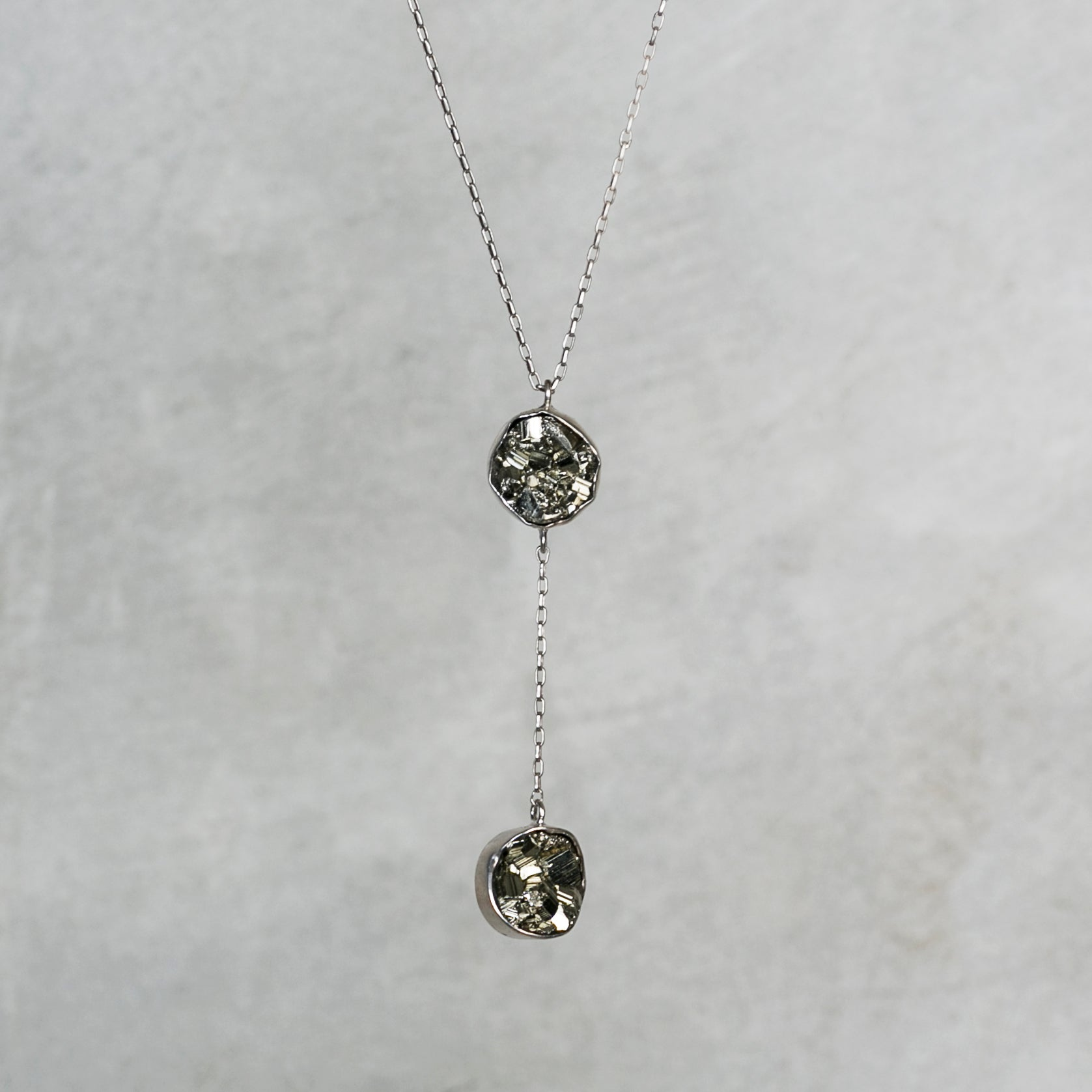 Double Drop Pyrite Necklace