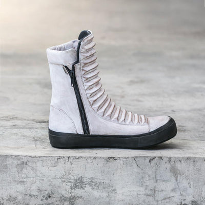 white leather boot