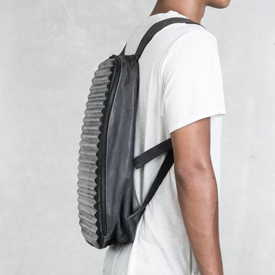 Hand Formed Leather Backpack - Ridged for Pleasure