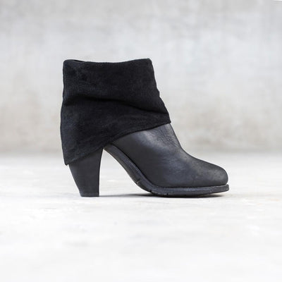 women's suede roll top boot
