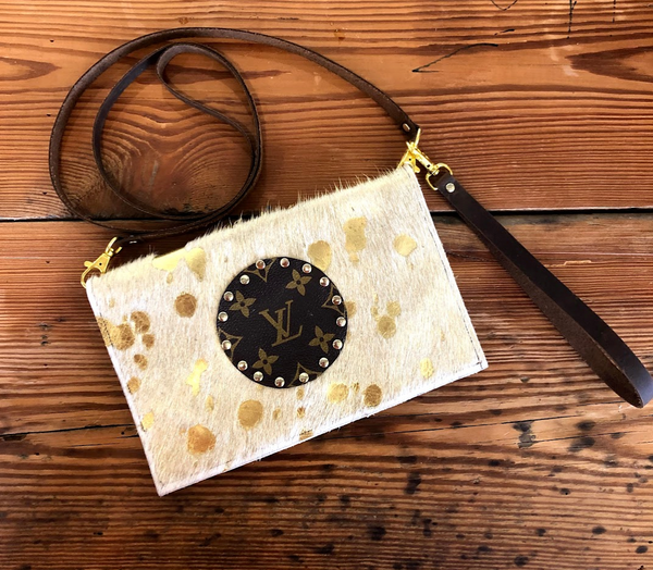 LV Upcycled Leather Cowhide Crossbody - Gigi's & Doc's