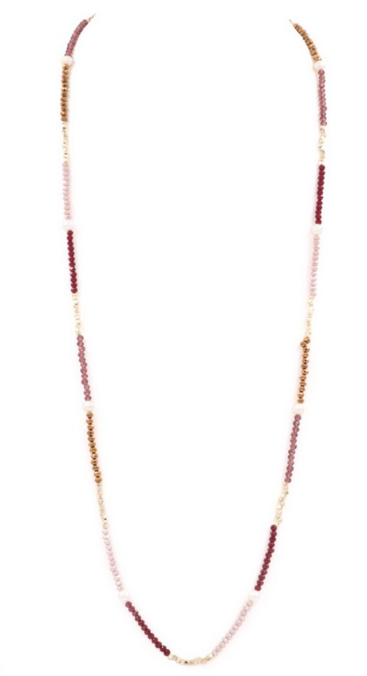 Beaded Burgundy Necklace