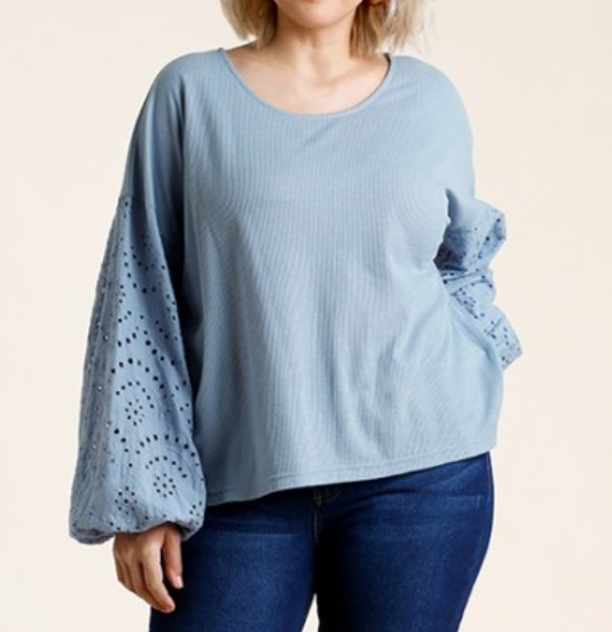 Plus Sky Blue Puff Sleeve Top