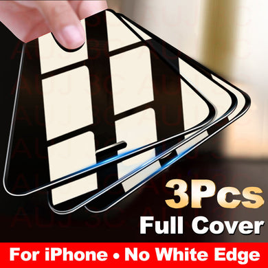 3PCS Full Cover Protective Tempered Glass For iPhone 11 Pro Max tempered Glass Film On iPhone X XR XS Max Screen Protector Curved Edge