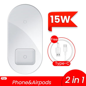 2 in 1 Dual Qi Wireless Charger For iPhone 11 Pro Max X Airpods 15W Fast Wireless Charging Pad Induction Wirless Charger